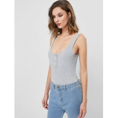Ribbed Snape Button Backless Tank Bodysuit - Gray Cloud S
