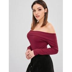 Overlay Ribbed Off Shoulder Bodysuit - Red Wine M