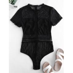 Mock Neck Lace Short Sleeve Lingerie Teddy - Black M