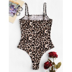 Leopard Cami High Leg Bodysuit - Leopard S