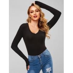 Long Sleeve V Neck Ribbed Bodysuit - Black M