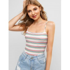 Knotted Back Pinstriped Cami Bodysuit - Multi-a S