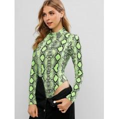 Mock Neck Neon Snake Print Bodysuit - Tea Green S