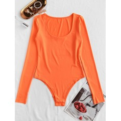 Neon Scoop Neck Long Sleeve Bodysuit - Orange M