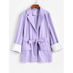 Belted Flap Pocket Cuffed Blazer - Lavender Blue S