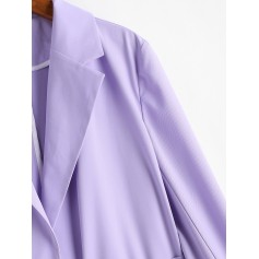 Belted Flap Pocket Cuffed Blazer - Lavender Blue S