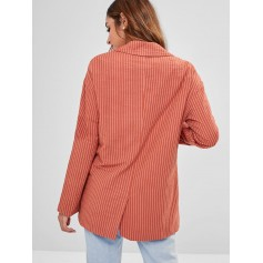 Back Slit Striped Lapel Blazer - Chestnut Red M