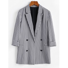 Cuffed Mock Button Gingham Blazer - Multi S