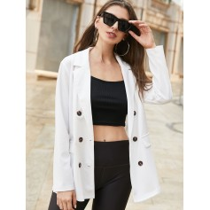 Double Breasted Notch Lapel Work Tunic Blazer - Milk White S