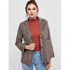 Tweed Pocket Longline Blazer - Brown Xl