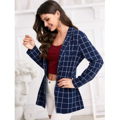 Grid Print One Button Notch Lapel Blazer - Deep Blue S