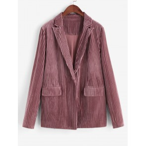 Double Pocket One Button Ribbed Velvet Striped Blazer - Khaki Rose M