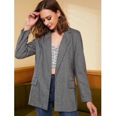 Tweed Open Front Longline Blazer - Gray M
