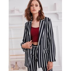 Vertical Striped Pockets Open Front Blazer - Multi-a Xl