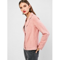 Solid Snap Button Faux Suede Blazer - Pink Xl