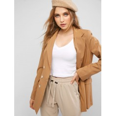 Flap Pockets Lapel Double Breasted Blazer - Camel Brown M