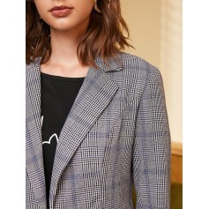 Faux Pockets Open Front Plaid Blazer - Black S