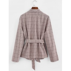 Shawl Collar Belted Plaid Blazer - Khaki Rose S