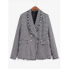 Frayed Flap Pockets Houndstooth Double Breasted Blazer - Multi-a Xs