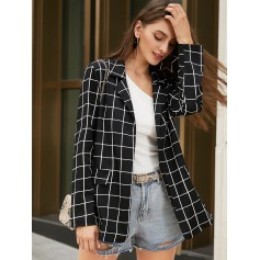 Grid Lapel Open Front Blazer - Black S