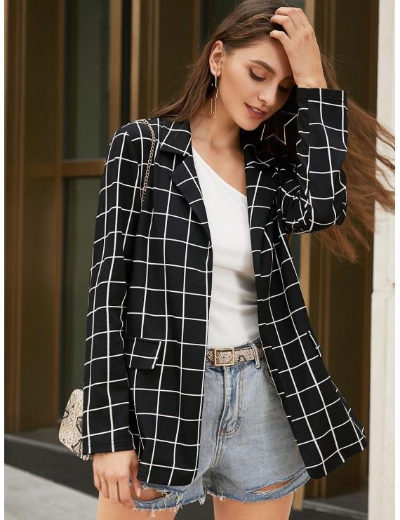 Grid Lapel Open Front Blazer - Black S