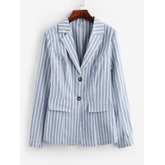 Striped Two Button Work Lapel Blazer - Sea Blue S