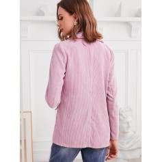 Faux Pockets One Buttoned Corduroy Blazer - Pink S