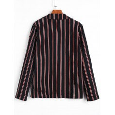 Striped Faux Pockets One Button Blazerr - Black S