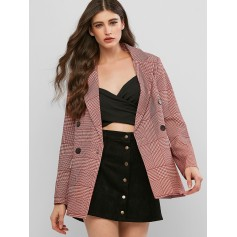 Double Breasted Houndstooth Mock Button Blazer - Red Wine L