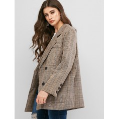 Double Breasted Pockets Plaid Blazer - Light Khaki S