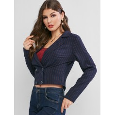 Stripes Double Breasted Short Blazer - Deep Blue M
