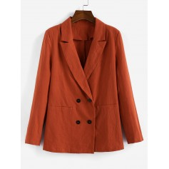 Lapel Double Breasted Longline Blazer - Orange Salmon S