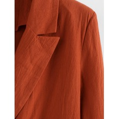 Lapel Double Breasted Longline Blazer - Orange Salmon S