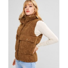 Padded Pocket Corduroy Waistcoat - Light Brown L