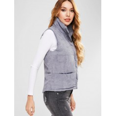Padded Zipper Corduroy Waistcoat - Blue Gray L