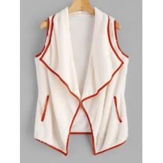 Fluffy Turndown Collar Waistcoat - Warm White S