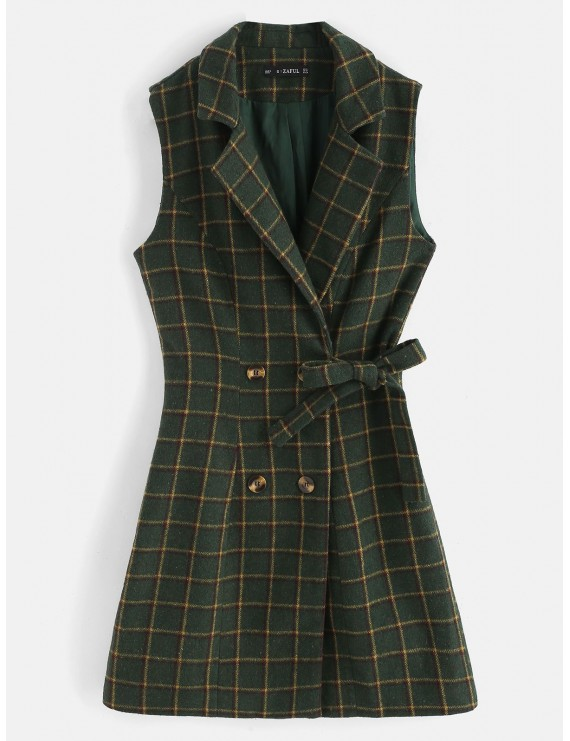 Plaid Double Breasted Lapel Waistcoat - Dark Forest Green M