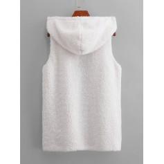 Hooded Fuzzy Waistcoat - White S