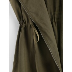 Drawstring Buttoned Tabs Zip Up Longline Waistcoat - Army Green S