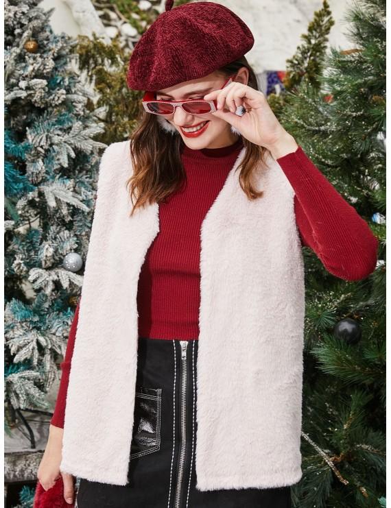 Faux Fur Open Collarless Fluffy Waistcoat - Sakura Pink M