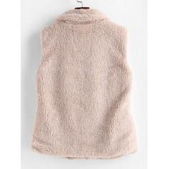 Mock Neck Solid Faux Fur Waistcoat - Beige M
