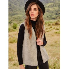 Fluffy Open Front Faux Fur Waistcoat - Light Khaki L