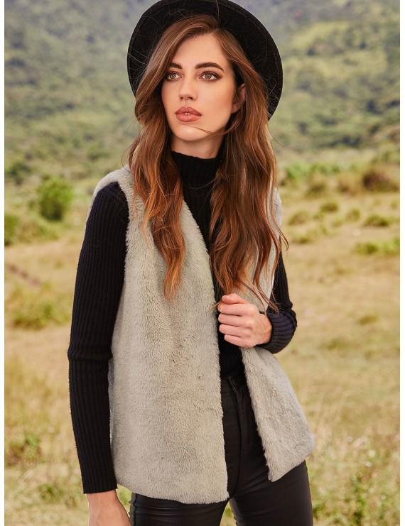 Fluffy Open Front Faux Fur Waistcoat - Light Khaki L