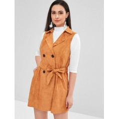 Double Breasted Faux Suede Waistcoat - Caramel L