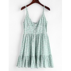Ruffles Half Buttoned Floral Dress - Light Aquamarine S