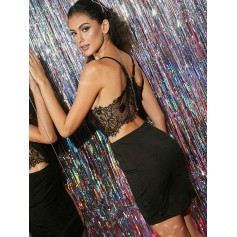 Lace Insert Cut Out Bodycon Dress - Black S
