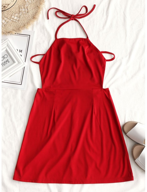 Back Zipper Open Back Mini Dress - Red S