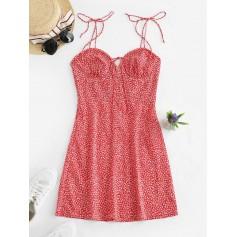 Leaves Print Cami Mini Dress - Red M