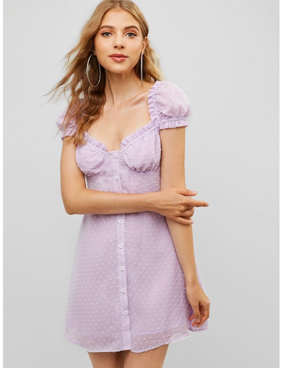 Button Up Ruffles Swiss Dot Mini Dress - Mauve S