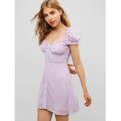 Button Up Ruffles Swiss Dot Mini Dress - Mauve S